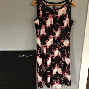 Ann Taylor Black and Pink Floral A-Line Dress